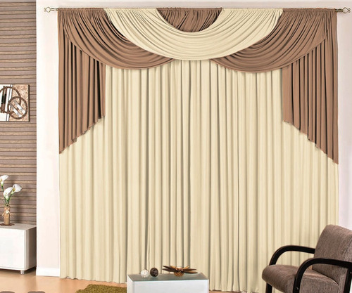 cortina para quarto e sala 4 metros p/ varão duplo tabaco