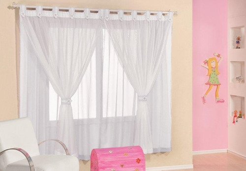 cortina para quarto juvenil branco 3,0x2,8m - varão simples