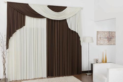 cortina para sala 2,00x1,80 para varão duplo grande oferta