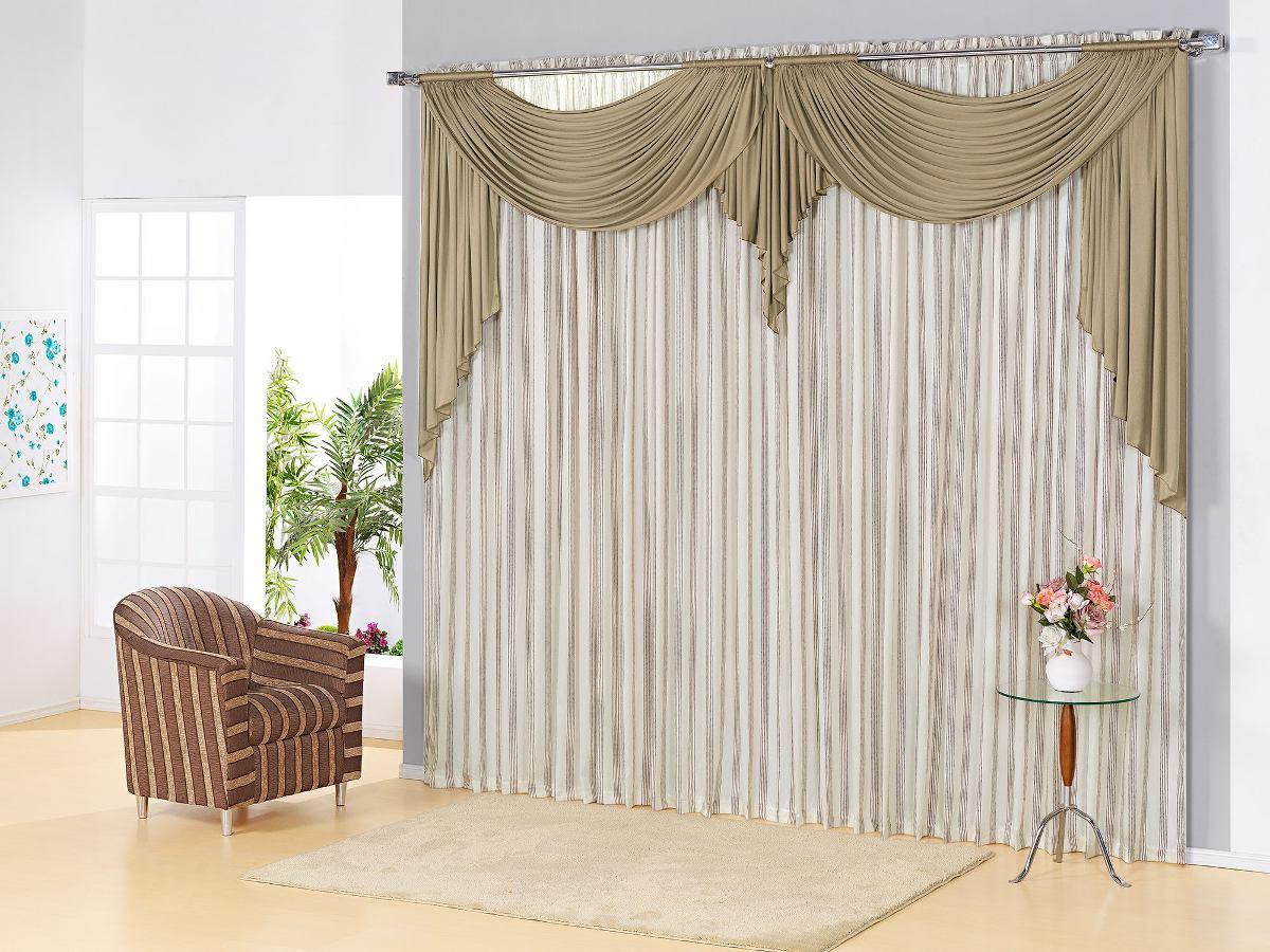Cortina para sala 3 00x2 80 tecido listrado com bando - Buscar cortinas para salas ...