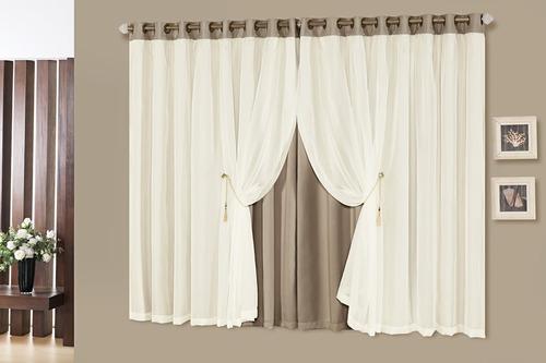 cortina para sala blackout idealle 4,00x2,70 c/ voil - palha