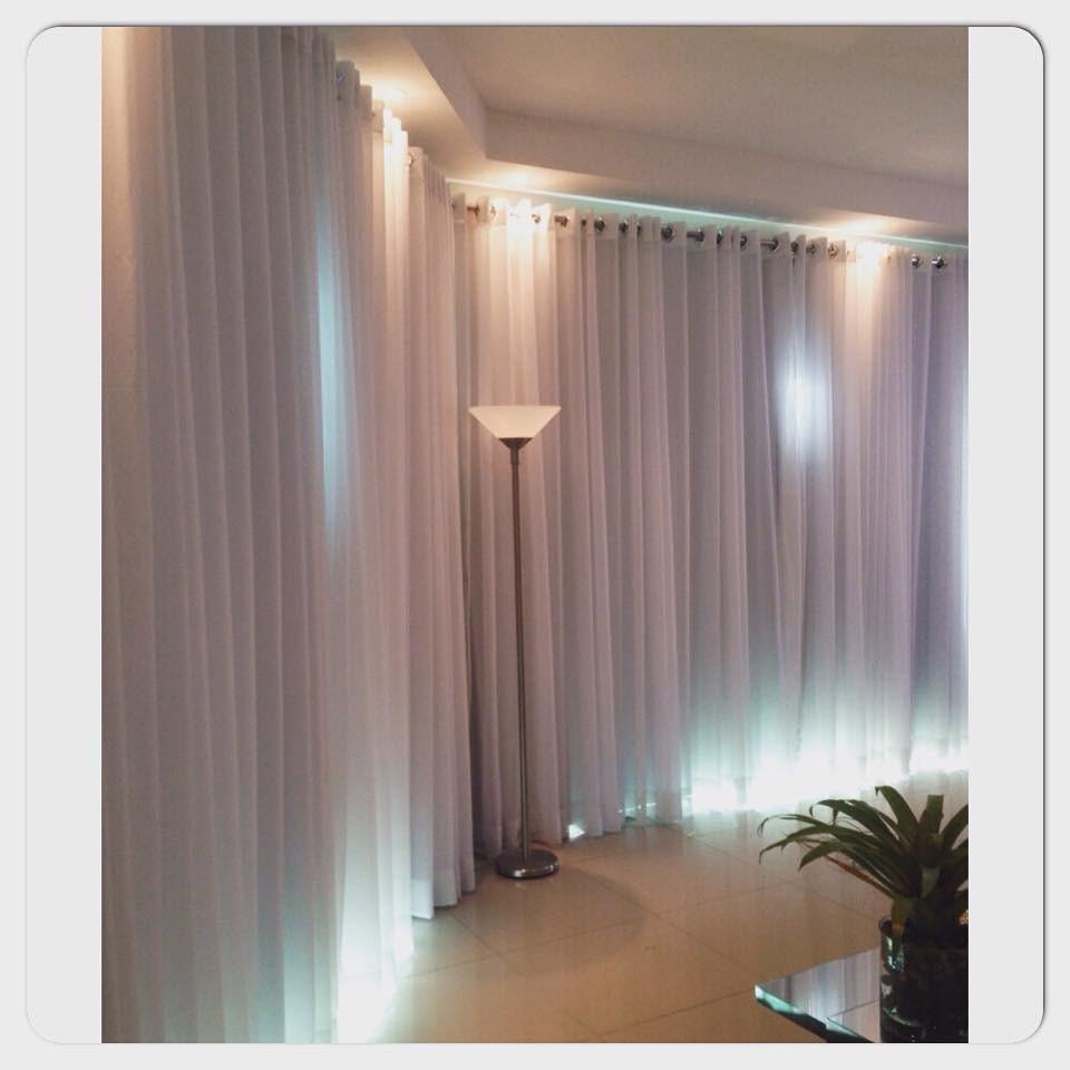 Cortina Para Sala De Voil Branca Tamanho 3 50 X 2 70 L X