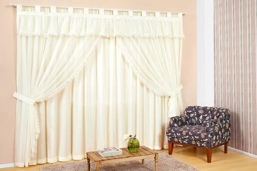 cortina para sala ou quarto varão duplo 3m naomi cor palha