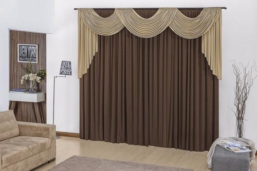 cortina para sala tabaco avelã 3mx2,80m p/ varão duplo