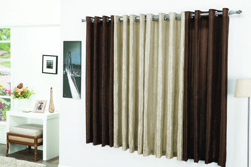 cortina para sala varão simples 2,0mx1,70m marrocos tabaco