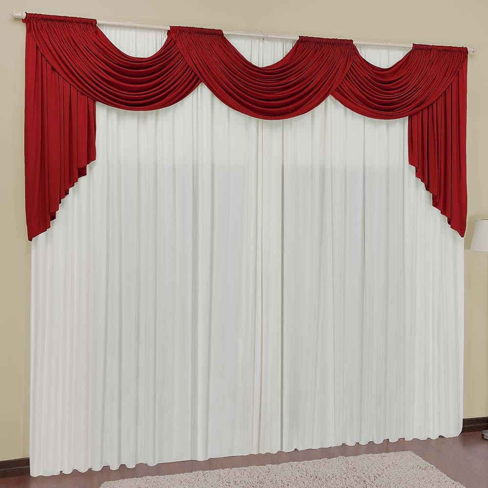 Cortina para sala veneza vermelha branca 4 00m x 2 50m r for Cortinas de visillo para sala