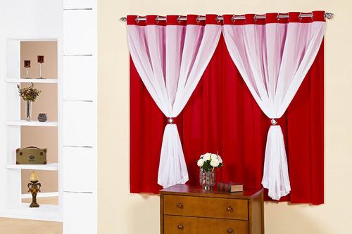 cortina para sala/quarto beatriz em malha 3,00m x 2,80m