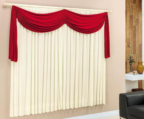 cortina para sala/quarto varão simples 2m mikaeli vermelho