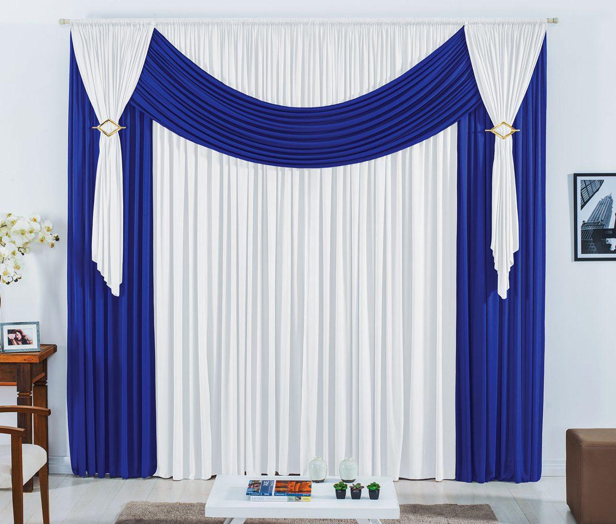 Cortina Para Varao De 6 Metros Azul Branco P Quarto Ou Sala R 189  -> Cortinas Para Sala Azul