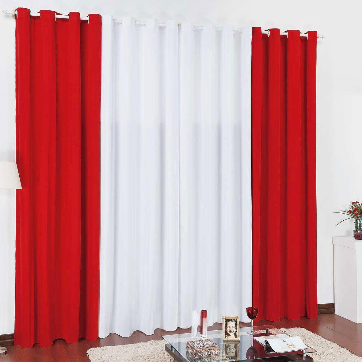 Cortina Para Var O Branca Com Vermelho Tamanho 2 80 X 2 50 R 79  -> Cortinas Para Sala Azul