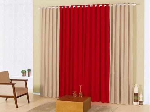 cortina para varão simples 3,00mx2,80m marselle varias cores