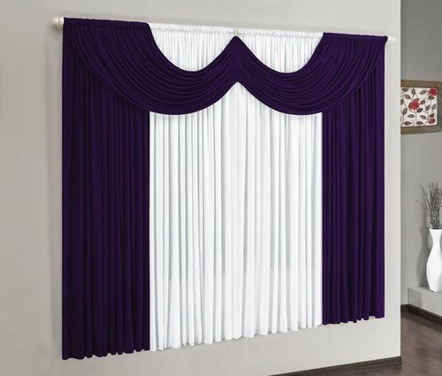 cortina para varão simples riviera 2m roxo+varão branco