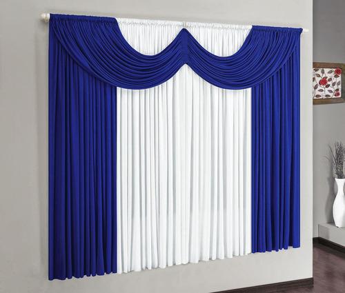 cortina para varão simples riviera 2mx1,70m cor azul malha
