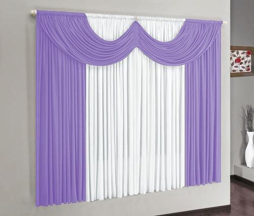 cortina para varão simples riviera 2mx1,70m cor lilás malha