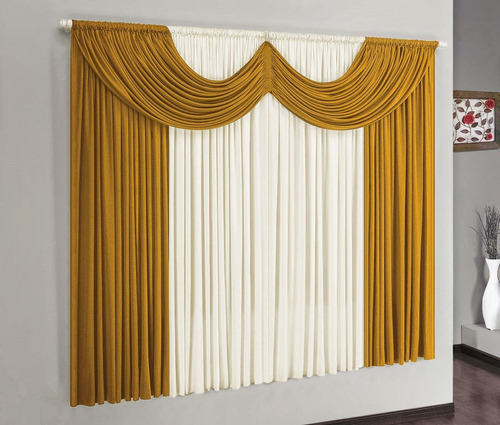 cortina para varão simples riviera 2mx1,70m mostarda  malha