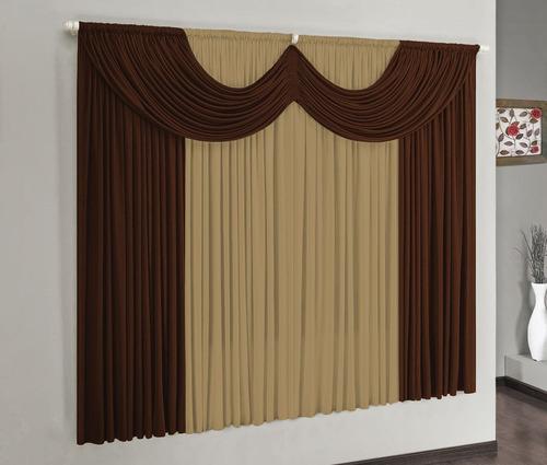cortina para varão simples riviera 2mx1,70m tabaco malha
