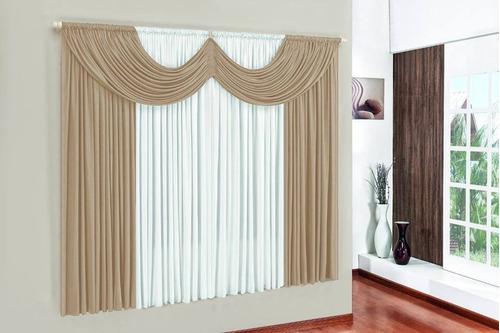 cortina paris 2,00 x 1,70 para sala/quarto avelã e palha