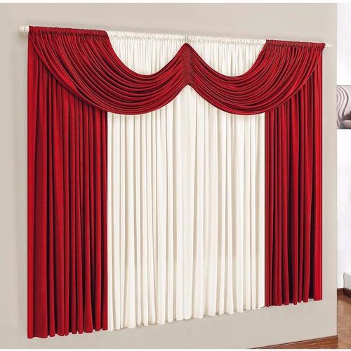 cortina paris 2,00 x 1,70 para sala/quarto vermelha e palha