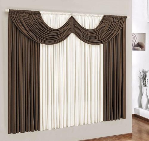 cortina paris 2,00x1,70 em malha para varão simples c/ bandô