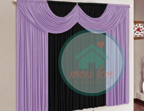 cortina paris 2,00x1,70 lilás e branco p/ sala e quarto #32