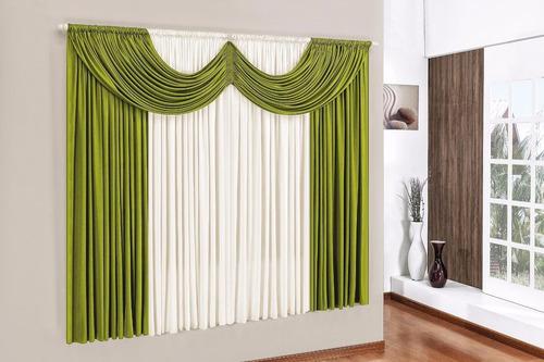 cortina paris 3,00 x 2,80 para sala/quarto verde e palha