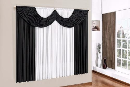 cortina paris 3m preto com branco