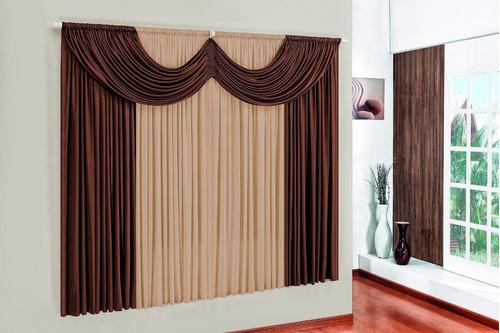 cortina paris bege e marrom 3,00m x 2,80m para sala e quarto