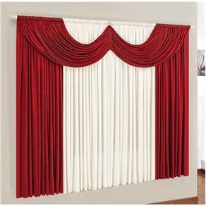 cortina paris para sala ou quarto 2,00 x 1,70m vermelha