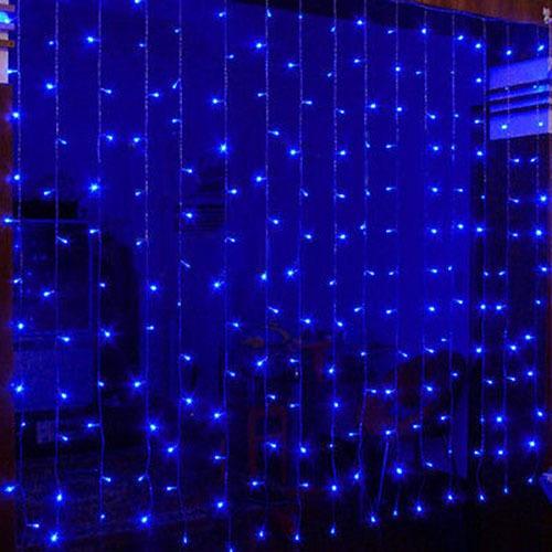 cortina pisca pisca led 320 leds 3m x 2m azul 220v