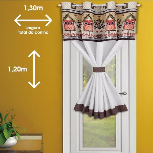 cortina porta cozinha 1,30mx1,20 uma parte - corujinha