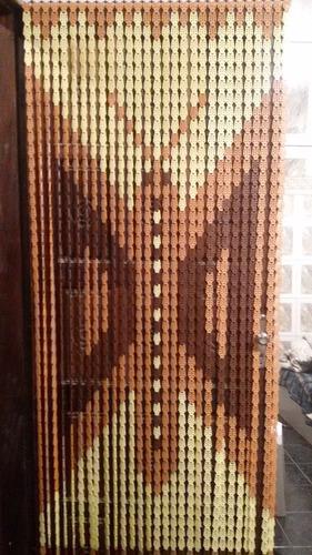 cortina porta plastica americana marrom bege borbolet 210x82