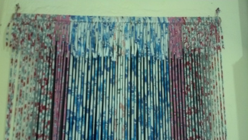 cortina porta tiras pano  210x82