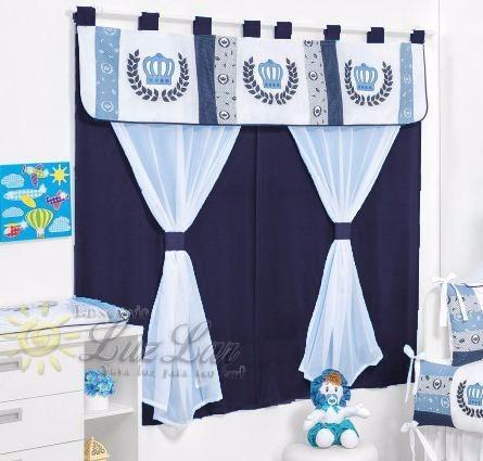cortina principe azul marinho m menino quarto beb p p