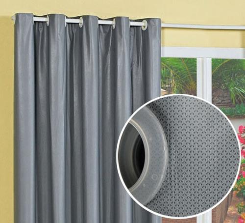 cortina pvc blackout com ilhós corta luz 1,40 x 1,60 cinza
