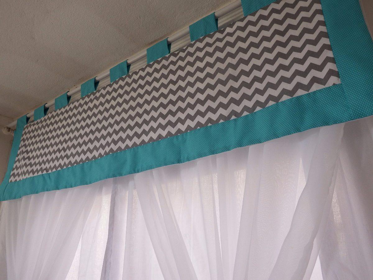 cortina quarto bebe chevron cinza verde agua r 175 00