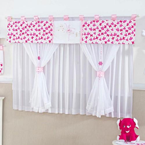 cortina quarto bebe menina bailarina bale musical rosa