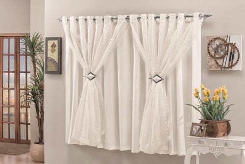 cortina quarto e sala verônica palha voal 3m varão simples