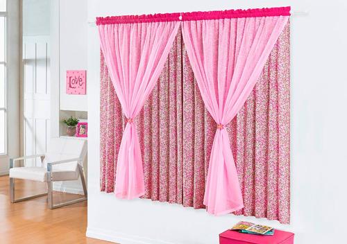 cortina quarto feminino rosa 2,00x1,60 estampada floral