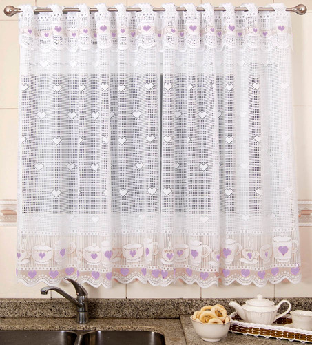 cortina renda copa cozinha jogo de chá lilás 2,20m x 1,30m