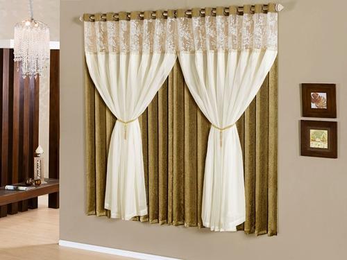 cortina ìris 3,00x2,50 com pedraria e voil p/ varão - ouro