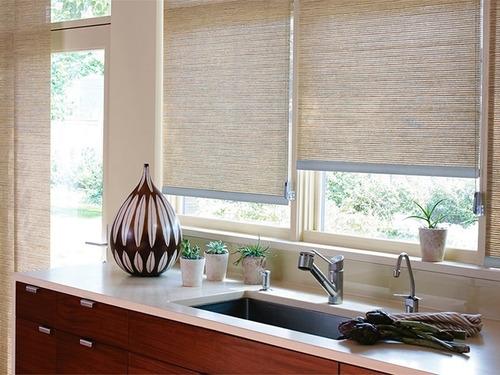 cortina roller rústica - varias medidas - soportes metálicos
