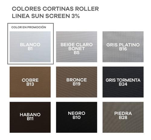 cortina roller sun screen 3% privacidad ideal! - m2