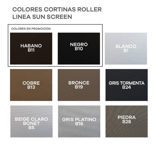 cortina roller sun screen 5% colores negro habano promo m2