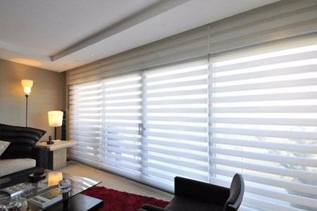 cortina roller zebra 180x240cm color blanco, instala fácil
