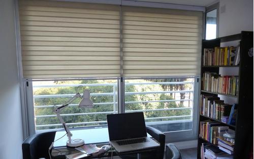 cortina roller zebra-dia y noche blancas - beige - sepia