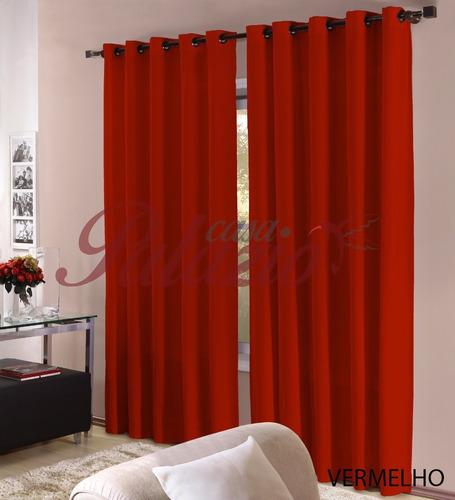 cortina roma 3,00x2,50 com ilhos para varão - varias cores
