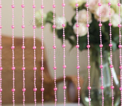 cortina rosa de miçangas e contas acrilicas pronta entrega