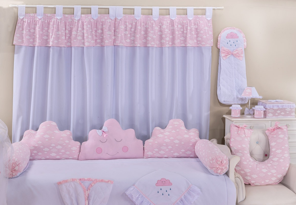 Cortina Rosa E Branco Para Quarto De Beb Menina Nuvem R 95  ~ Cortinas De Luxo Para Quarto E Quarto Amarelo E Branco
