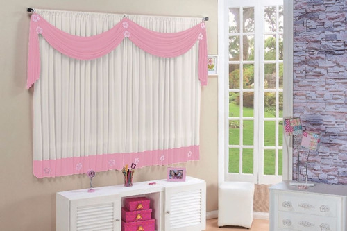 cortina rosa infantil para quarto de menina margarida 2.00m