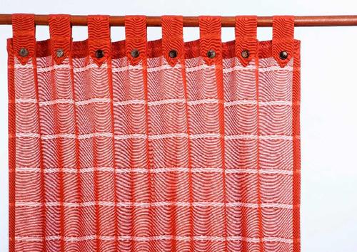 cortina rustica liviana con presillas y botones de coco